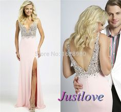Find More Prom Dresses Information about Deep V neck Sexy Chiffon Long Prom Dresses 2015 with Crystal Pink Slit Open Back Formal Pageant Women Dress vestido de formatura,High Quality dress up black dress,China dress lining Suppliers, Cheap dress train from Justlove international wedding dress Ltd. on Aliexpress.com