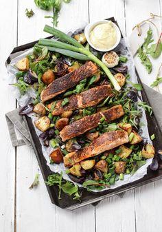 Smoky Rubbed Salmon with Roasted Potato Salad and Aioli Recipe