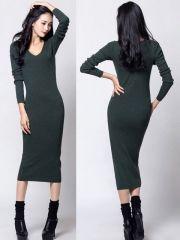 Women's Fashionable V-Neck Package Hip Full-sleeve Knitted Blackish Green Dress Wholesale Clothing, Green Dress, High Neck Dress, V Neck, Sleeves, Clothes, Dresses, Fashion, Turtleneck Dress