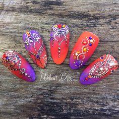 "by Simone Gilbert on Instagram: ""#bollywoodnails featuring a genuine #amethyst #gemstone from @athenarocksnails and #swarovskicrystals from @touchedbycolournailart #crystalnailart #blingnails #bejewellednails #bejewelednails#nailsofinstagram #nailsofmelbourne #notd #indiannailart #bindi #bindinails #bollywood #gemstonenails #athenarocks #urbanblissbeauty #akzentzsummer"""