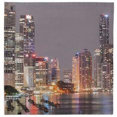 Brisbane Night Skyline Cloth Napkin - decor diy cyo customize home