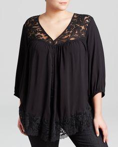 Karen Kane Plus Size Black Lace Inset Top | Bloomingdale's #Plus_Size #Black #Lace #Inset #Top #Plus #Size #Womens #Fashion #KarenKane #Plus_Size_Fashion #Bloomingdales