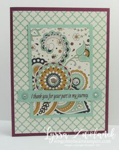 """I've been playing with the """"suite"""" new Petals & Paisleys products and having lots of fun! Here's four cards I came up with after I finally got up the courage to cut into the paper! Are you like that, too? I'm trying to be better about enjoying my pretty things instead of saving them for something """"special""""... and then never using them at all. Shop with Lyssa! Petals & Paisleys Products (click any photo to see larger photos & descriptions) Paisley Framelits Dies for the Sizzix Big Shot Suite…"""