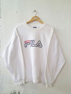 02285592535 Fitness Women s Clothes - Vintage 90 s FILA Roundneck Sweatshirt with Big  Logo Spell Out Embroidered Sweater