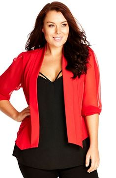 City+Chic+Chiffon+Sleeve+Blazer+(Plus+Size)+available+at+#Nordstrom