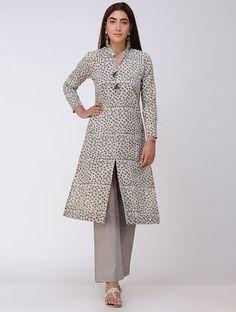 Brown Dabu-printed Cotton Kurta with Front Slit