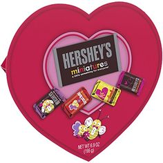 Valentine Heart, Valentines Day, Snickers Almond, Pink Candy Buffet, Hershey Miniatures, Holiday Candy, Gourmet Recipes, Chocolate, Sage