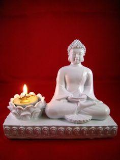 TEELICHTHALTER Weiß incl. KERZE BUDDHA FIGUR DEKO ASIEN Feng Shui NEU 16 cm