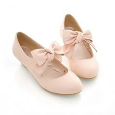 Fashion and Sweet Style Bowknot Embellished Round Head Thick Heel Design Women's Pumps