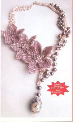 Another flower necklace.  Maybe you can figure out the schema if you are experienced. #seed #bead #tutorial