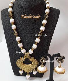 White shaded Silk thread Jewelry with designer Pendant-Indian Jewelry / Jewellery Set Silk Thread Necklace, Beaded Necklace Patterns, Silk Thread Bangles, Thread Jewellery, Jewelry Patterns, Beaded Jewelry, Handmade Jewelry, Diy Jewellery, Jewellery Designs