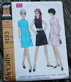McCall 9193 1960s 60s Mini Mod Dress Vintage by EleanorMeriwether