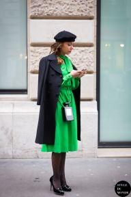 Alina Kaltsidou-Poprawski wearing a Dolce & Gabbana coat, a Pierre Balmain vintage green dress, Charlotte Olympia shoes, a Chanel perfume bottle shaped bag. Follow me on Instagram @styledumonde, Pinterest, Twitter, TumblrandFacebook