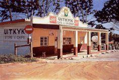 Uitkyk, Cash Store, Hermanus, Oil on canvas by John Kramer. Size: 76 x University Of Cape Town, Driftwood Wall Art, Voice Of America, American Photo, South African Artists, London Art, Small Towns, Lightroom, Gazebo