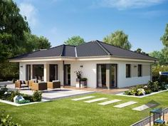 Modern Family House, Modern Bungalow House, Bungalow House Plans, Model House Plan, My House Plans, Bedroom House Plans, House Outside Design, Small House Design, Modern House Design