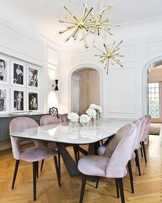 Today, we're showing you 20 modern dining room design ideas that will be a sure inspiration to get your design lover side more than ecstatic. | www.barstoolsfurniture.com Dining Room Wall Decor, Dining Room Design, Dining Room Chairs, Dining Room Furniture, Dinning Room Light Fixture, White Dining Room Table, Black And White Dining Room, Elegant Dining Room, Dining Nook