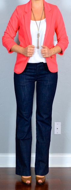 Outfit Posts: outfit post: coral blazer, white tank, bootcut trouser jeans, brown peeptoed pumps for Work