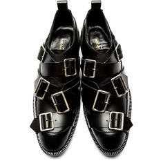 Comme des Garçons Black Leather Buckle Oxfords