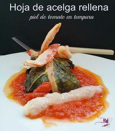 Acelgas con piel de tomate en tempura