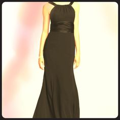 HOST PICKBlack Chiffon and Charmeuse Dress With rounded neckline, High neck, sophisticated look, dress is fully lined, back zip, worn once, can wear for Prom, homecoming, ball David's Bridal Dresses