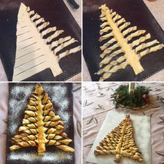 "Puff pastry Christmas trees. Roll out 2 rectangle puff pastry sheets, spread one with Nutella and cut out tree shape. Use two cut off triangles to form a second tree. Cut and twist ""branches"" as shown. Bake at 180 C (350 F) for 20 Minutes or so. Super easy and quick.... and oh so yummy! Christmas Brunch, Christmas Breakfast, Christmas Desserts, Christmas Treats, Christmas Baking, Christmas Fun, Christmas Cookies, Holiday Fun, Bread Shaping"