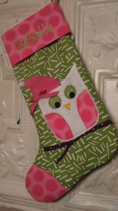 Owl Christmas Stocking in Green and Pink