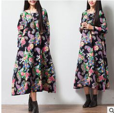 Vinttage new 2015 fancy Flower National Trendy Printed Long Maxi Cotton Dress Big size Oversized female Cloths