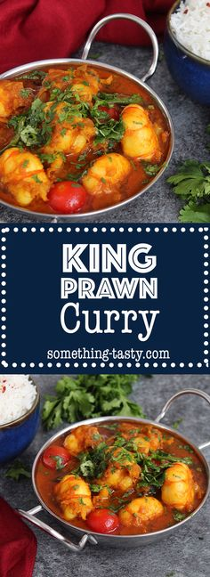 This authentic aromatic, flavourful & easy prawn curry dish will get your taste buds tingling. It uses fresh herbs, spices & no pre-bought curry pastes! Prawn Shrimp, Curry Shrimp, King Prawn Curry, Curry Dishes, Curry Paste, Fresh Herbs, Cherry Tomatoes, Chana Masala, Meals