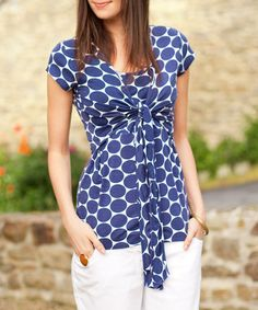 Take a look at this Navy Spot Tie-Front Nursing Top by JoJo Maman Bébé on #zulily today!