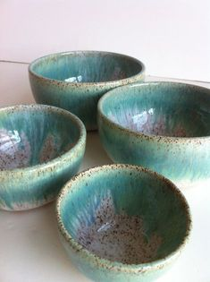 Handmade Wheel Thrown Stoneware Nested Bowls Set by NewMoonStudio Glazes For Pottery, Pottery Bowls, Ceramic Pottery, Slab Pottery, Stoneware Clay, Ceramic Bowls, Ceramic Painting, Ceramic Art, Aqua