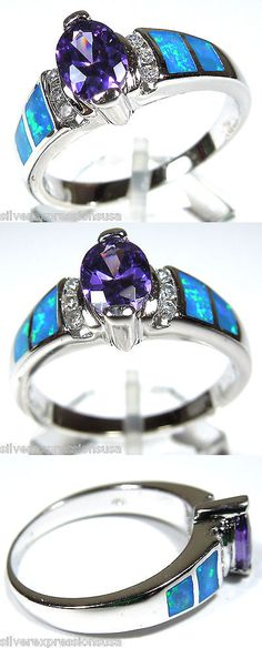 Rings 67681: Purple Amethyst And Blue Fire Opal Inlay Solid 925 Sterling Silver Ring Size 6-10 -> BUY IT NOW ONLY: $34 on eBay!