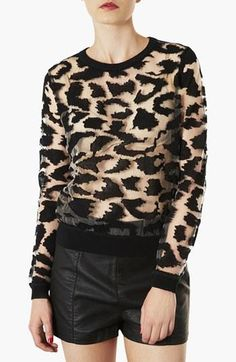 Topshop animal print burnout top