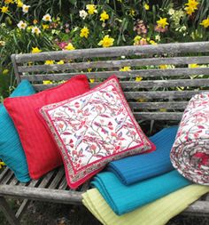 Print and plain interiors textiles inc. throws, cushion covers and curtains, hand made in India for Chandni Chowk.