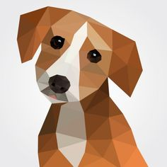 Polygonal dog Free Vector