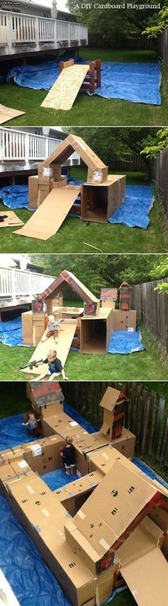 Cardboard Castle Playhouse. Omg!!! I would have been in heaven if I had this as a kid!!!