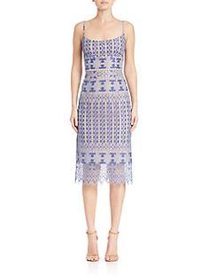BCBGMAXAZRIA - Alese Geometric Lace Sheath Dress