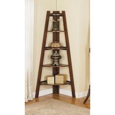 Poundex -Espresso finish wood corner shelf unit