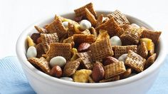 Cinnamon-Apple Chex® Mix     Apples, spice and nuts mix up in a microwave-easy munchy mix thats ready in about half an hour.