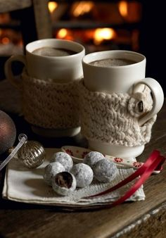 Cozy knitted mug sleeves
