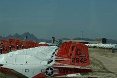 Massa's T-34 trainers van de US Navy. Rechts achter een rijtje A-10 tankbusters.