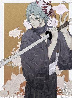 Love My Boys, Cherry Blossom, Anime Guys, Samurai, Fan Art, Artist, Infinity, Fictional Characters, Blue Hair