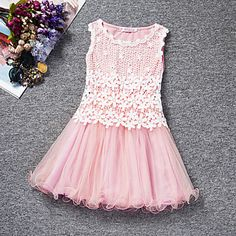Girl's+Blue+/+Pink+/+Purple+/+Red+/+Yellow+Dress+,+Lace+Polyester+Summer+–+NZD+$+11.74