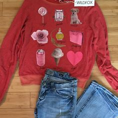 """Wildfox Packing List Baggy Beach Jumper This top is NWT! Very soft sweatshirt in red. Color is strawberry. Has a list and photo printed of different items on the front of shirt. Scoop neck with long sleeves and ribbed trim. Approximately 18"""" across the bust when laid flat and 24 1/2"""" from shoulder to hem. 47% polyester, 47% rayon, 6% spandex Wildfox Tops Sweatshirts & Hoodies Wildfox, Hoodies, Sweatshirts, Red Color, Jumper, Scoop Neck, Strawberry, Packing, Fashion Tips"""