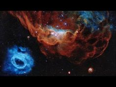The giant red nebula NGC 2014 and its smaller blue neighbor NGC 2020 part of the Large Magellanic Cloud in the Milky Way about 163000 light years away - latest image Hubble Space Telescope (NASA) James Webb Space Telescope, Hubble Space Telescope, Nasa Space, Space Images, Space Photos, Nasa Images, Images Gif, Image Youtube, Telescope Images