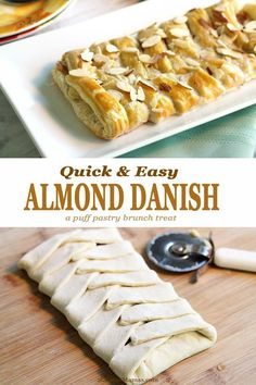 Bake up this Almond Danish Braid for a sweet brunch treat! Flaky pastry, sweet almond filling, crunchy almond topping & a drizzle of icing! Danish Recipe Puff Pastry, Frozen Puff Pastry, Puff Pastry Dough, Puff Pastry Recipes, Puff Pastries, Almond Danish Recipe, Almond Filling Recipe, Pastries Recipes, Easy Brunch Recipes