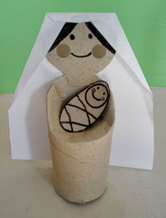 Maria com o menino jesus. Bible Craft Baby Jesus and Maria #recycle #toiletpaper