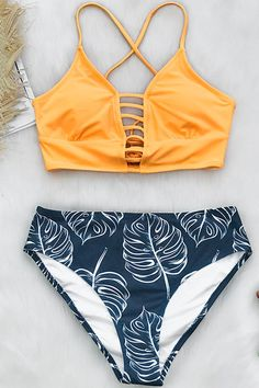 f61ef0fc196 YELLOW AND LEAVES PRINT BIKINI. Bikini BeachBikini TopsBikini SetSwimsuit  TopsPlus Size ...