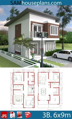 House Plans with 3 Bedrooms - Sam House Plans Beautiful House Plans, Simple House Plans, Tiny House Plans, Rustic Home Design, Bedroom House Plans, Small House Design, House Layouts, Beach Cottages, Planer