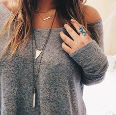 turquoise ring, geometric necklace, oversized grey sweater