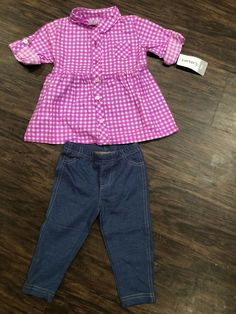 4-8 NWT Carters Girls Flannel Shirt Solid or Floral Lace Shirt Size 2T 5T